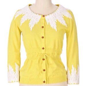 Anthropologie Moth Yellow Wisteria Cardigan S